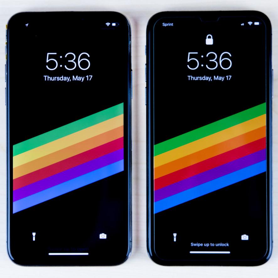 Дисплей Apple в сравнении с китайским. Разный контраст, значки и качество картинки.